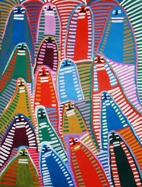 Athem areny - Dancing LadiesThere is a great deal of confusion amongst Aboriginal art collectors surrounding the identities of Angelina Ngal(e) and Angelina Pwerl(e). They are