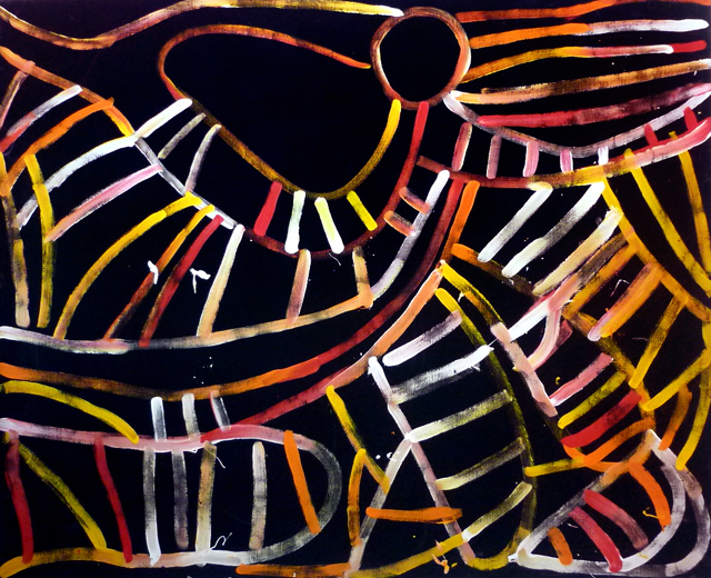Awelye AtnwengerrpThe bold linear patterns of stripes and curves throughout Minnie's painting depicts the womens ceremonial body paint design.After smearing their bodies with animal fat