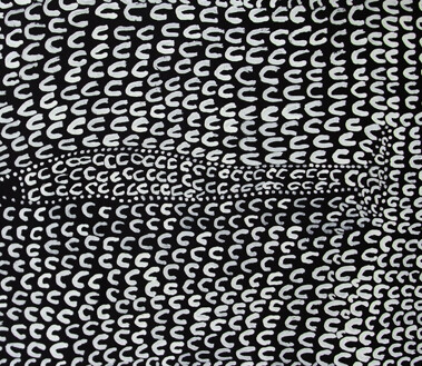 Body Paint - DaiwalPhyllis has painted a depiction of the Daiwal (Barramundi) scales that are an important part of the Kitja Women's Culture. The Elder women often paint this design in the ochre on the top half of their bodies for dancing