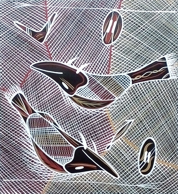 Bush Tucker DreamingReg Pengarte was born in Alice Springs in 1966. He paints in a style typical of the northern part of the Northern Territory called rarrking or cross-hatching. The colours and design used are passed down within families.