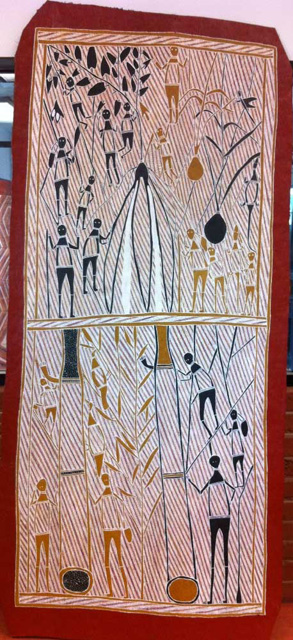 Collecting HoneyThe artist Laurie Marburduk has depicted the hives of native honeybees and the honey they produce. The honey is represented by the dotted motif which is characteristic of the way honey is depicted in all Arnhem Land painting
