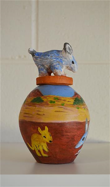 Eelbitania (Rabbit)The Hermannsburg Potters produce their distinctive handmade pieces within Arrernte custom and tradition and their work is internationally renowned.