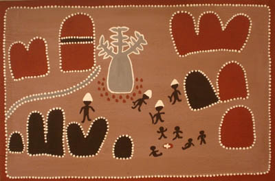 Horse Creek - Tribute to QueenieThe late Queenie McKenzie is hailed as undisputed Queen of the Kimberley Ochre Painters. She was from Texas Downs country