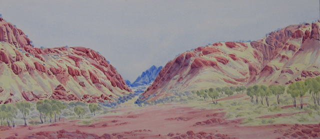 James Range West Marinie Loop Road NTHubert has been painting watercolours since he was a young boy. He was inspired by his father Reuben Pareroultja