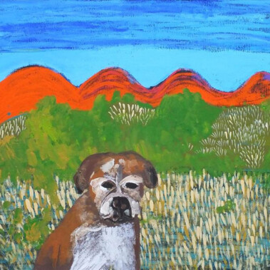 Jarntu kuja kalu nyinami Yurntumu-rla (Dogs that live in Yuendumu)This painting depicts some of the 'jarntu' or 'maliki' (dogs) that live in Yuendumu. Families in Yuendumu tend to own many dogs. They are good 'marlpa' (company). Many people think of their dogs as 'warlalja' (family). Dogs in Yuendumu like to follow their owners around whenever they can.