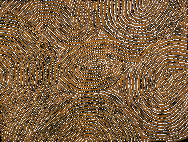 Kaakuratintja (Lake McDonald)This painting depicts designs associated with the site of Kaakuratinja (Lake McDonald) in Central Australia. In mythological times