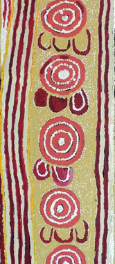 Karnta Jukurrpa (Women's Dreaming)This painting depicts Nakamarra and Napurrurla women hunting for bush foods. The sacred site associated with this Jukurrpa is represented as a circle around which the women sit. They are looking for sweet berries that are only available at certain times of the year.