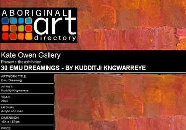 Kate Owen Gallery presents 30 Emu Dreamings by Kudditji Kngwarreye