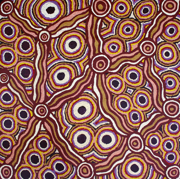 Kungkarangkalpa - Seven Sisters StoryIna's painting describes the epic Tjukurpa (dreamtime) story which is central to Anangu cosmology. The story is about the Seven Sisters' journey across the land