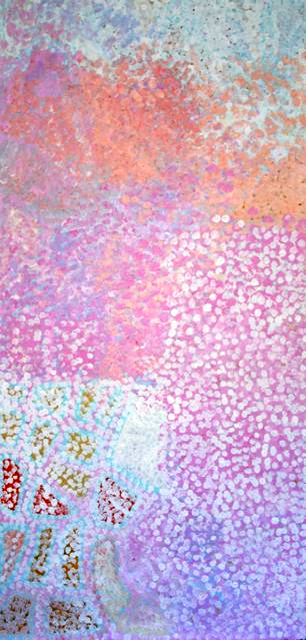 Minna MinnaIn this painting Sarah has painted her country Minna Minna. The different colours in the painting represent the Tali (sandhills) that surround this country. Sarah says that there are good putja (bush leaves) which she cooks over hot coals. The white flowers of the putja are used in ceremony