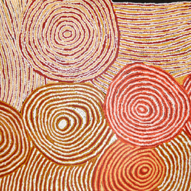 """My Country""""My Country"""" is located in the Western Australian desert. It portrays the epic journeys of ancestors through the vast hills"""