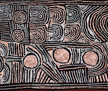 My CountryIn this painting Maisie has depicted the country near Tjukurla in the desrt of Western Australia. It is a site with sandhiils (Tali) and rockholes and it is where Maisie's family go hunting