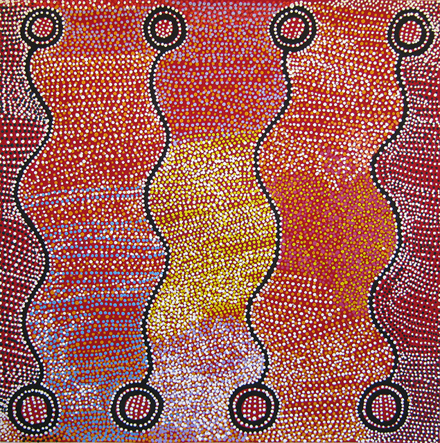 Ngapa JukurrpaThe painting depicts the rainmaker story and how two men unleashed a giant storm across the area. The storm travelled across the country