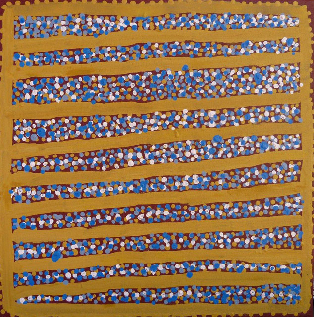Ngapa Jukurrpa (Water Dreaming)The site depicted in this painting is Puyurru