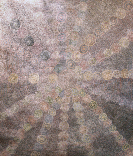 Ngkwarlerlanem and ArnkawenyerAll of Sarah's Dreamtime stories belong to her counties Ngkwarlerlanem and Arnkawenyerr. Sarah has painted designs that represent all of her Dreamtime stories. The stories that are feature in this painting include Rainbow (Mpwelarr)