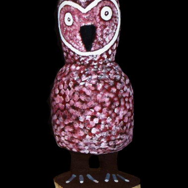 Owl (52cm)Wally Pwerle Clark is a senior Utopian artist and brother to Cowboy Louis Pwerle. His works are held in numerous collections including the National Gallery of Victoria and Powerhouse Museum in Sydney. Wally carves (typically mulga and bean woods) using a tomahawk