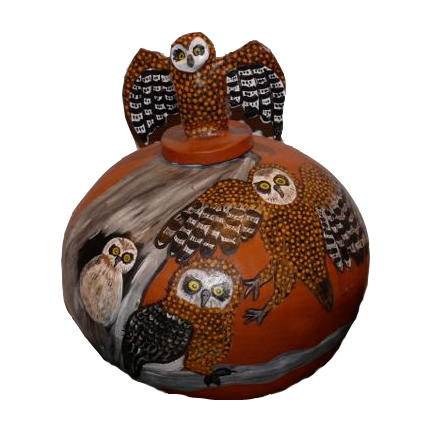 OwlMany of the Hermannsburg potters are descendants of Albert Namatjira and influenced by his use of modern style and deep connection to the land.  Hermannsburg potters continue this tradition in their pots