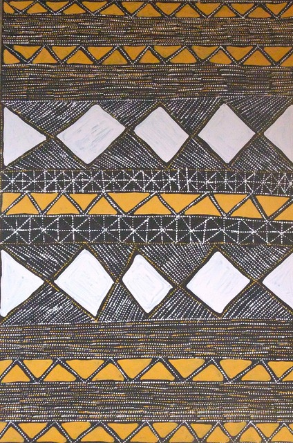Parlini KilamaraMargaret Kerinauia takes the traditional designs of the Yirrikapayi Turwara (Crocodile Tail) and renders it in vivid ochres