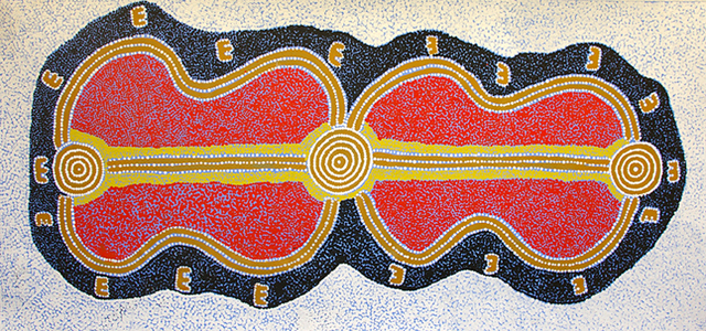 """Possum DreamingThis is Paddy's depiction of """"Janganpa Jukurrpa"""" or Possum Dreaming.  This story tells of the journeys made by a possum ancestor who travelled all over the Warlpiri lands during the Jukurrpa (Dreamtime). The ' E' shapes are the possum footprints and lines are the imprint left by the possum's tail in the sand"""