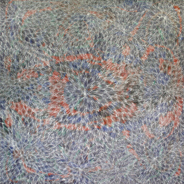 Rainbow (Mpwelarr) DreamingLucky Kngwarreye Morton depicts the patterns of the body of the Rainbow Spirit which comes to life in the form of a rainbow at the end of the storm.