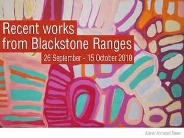 Recent works from Blackstone Ranges (26 September - 15 October 2010)