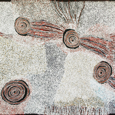 Rockholes near the OlgasBill Whiskey Tjapaltjarri's paintings deal almost exclusively with the ancestral white cockatoo dreaming story of his birthplace