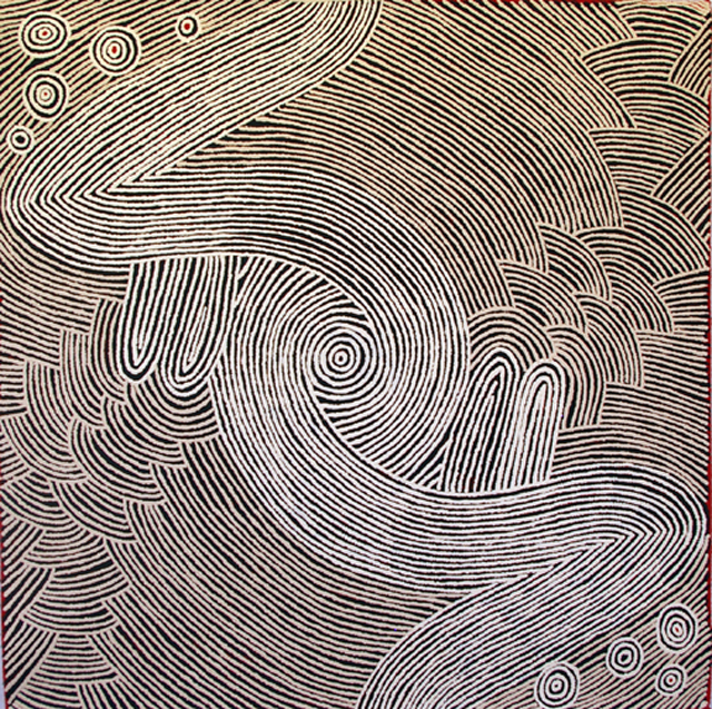 Tali (My Country)The painting portrays the landscape of Narpulla's homelands in Central Australia. An aerial perspective the painting shows the typography of the landscape