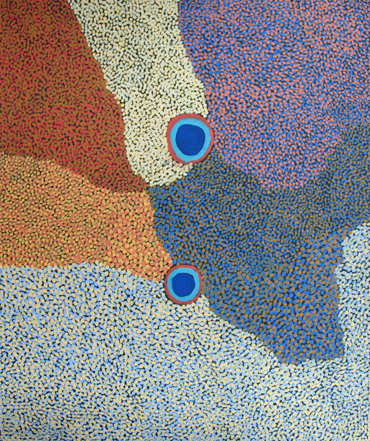 Tapu and JarrirtiThe painting depicts an aerial view of two waterholes located in the artist's country surrounding the canning stock route.