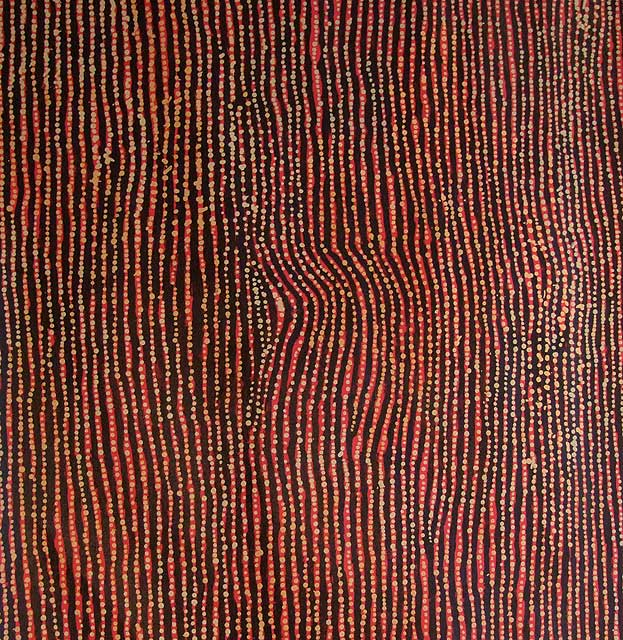 TingariWilly paints the Tingari Cycle Dreaming story (Jukurrpa) as it relates to the area where Pintupi is spoken. In this beautiful masterpiece painted by Willy in 2005