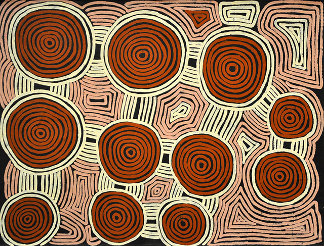 Tingari CycleThis painting represents specific sacred sites located in his ancestral country. These sites