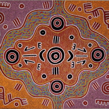 Two Kangaroos and Headwear CeremonyMichael Nelson Jagamara's Dreamings include Possum