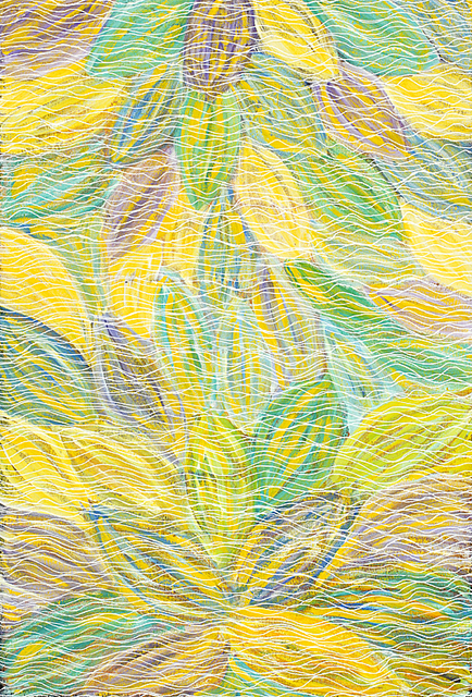 WildflowersThe morass of Wild Flowers produced after desert rains are the source of Lucky Kngwarreye Morton's inspiration. In this painting she uses a pastel pallette of oversized surreal petals under rippled lines of white using the gutta instrument.