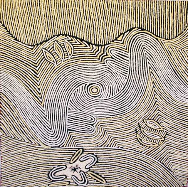 """Womens DreamingThis painting shows Narpulla's depiction of """"Women's Dreaming"""". The painting portrays the landscape of Narpulla's homelands in Central Australia. An aerial perspective the painting shows the typography of the landscape"""