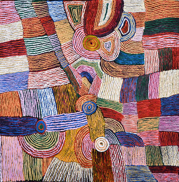 Women's HairstringLayers of colours represent the hair which is rolled on the women's thighs to make hairstring for use in bags and clothing. The concentric circles in the centre of the painting represent sites of significance for the artists and her family.