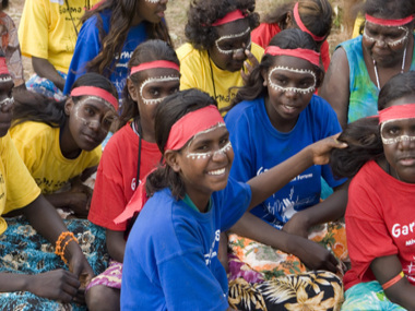 Young dancers painted for bunggul at Garma 2008